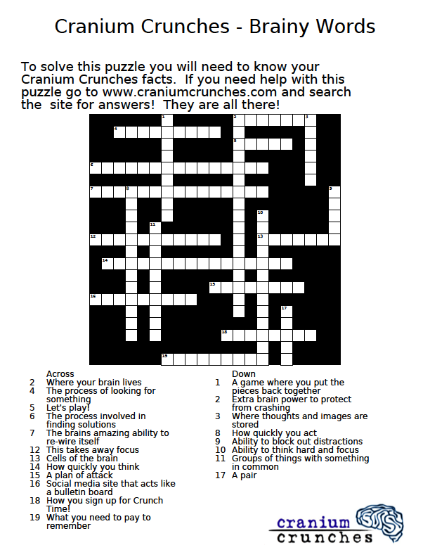 Crossword Puzzle Brainy Words